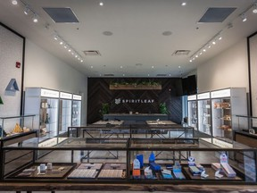 """These are photographs of a Spiritleaf cannabis store in Calgary that is expected to open soon – just awaiting its licence. One image includes a picture of Gord Downey in a """"lounge"""" at the store. The company had a deal with Up Cannabis, which is backed by The Tragically Hip.  For 1129 stores"""