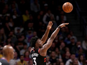 Og Anunoby #3 of the Toronto Raptors puts up a shot against the Denver Nuggets at  the Pepsi Center on December 16, 2018 in Denver, Colorado.  (Photo by Matthew Stockman/Getty Images)