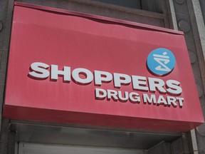The logo for Shoppers Drug Mart is shown in downtown Toronto, on May 24, 2016.