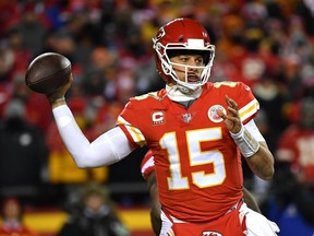 Patrick Mahomes #15 of the Kansas City Chiefs looks to pass in the second half against the New England Patriots during the AFC Championship Game at Arrowhead Stadium on January 20, 2019 in Kansas City, Missouri.