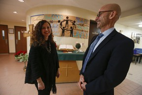 Principal Michael Neilands with Grade 3 teacher Angela Papandrea at St. Justin Martyr Catholic School in Unionville, which scored a 10 out of 10 in the Fraser Institute's Report Card on Elementary Schools in Ontario 2019, on Thursday, Jan. 17, 2019. (Jack Boland/Toronto Sun/Postmedia Network)