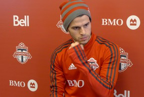 Toronto FC striker Sebastian Giovinco looks on at the team's training camp earlier this month. (THE CANADIAN PRESS)