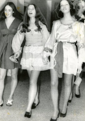 Susan Atkins, Patricia Krenwinkel and Leslie Van Houten sing and laugh on the way into their 1970 murder trial. After nearly 50 years in prison, Van Houten has been granted parole.