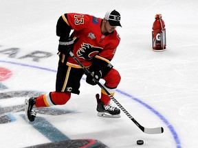 Johnny Gaudreau of the Calgary Flames competes in the Gatorade NHL Puck Control during the 2019 SAP NHL All-Star Skills at SAP Center on Jan. 25, 2019 in San Jose, Calif.