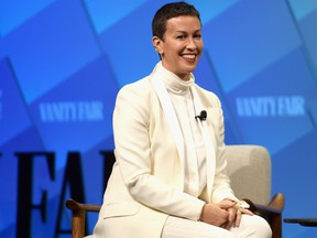 Creator of Jagged Little Pill: The Musical, Alanis Morissette speaks onstage at Day 1 of the Vanity Fair New Establishment Summit 2018 at The Wallis Annenberg Center for the Performing Arts on Oct. 9, 2018 in Beverly Hills, Calif.  (Matt Winkelmeyer/Getty Images)