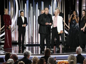 """In this handout photo provided by NBCUniversal, Jim Beach accepts the Best Motion Picture – Drama award for """"Bohemian Rhapsody"""" speak onstage during the 76th Annual Golden Globe Awards at The Beverly Hilton Hotel on January 06, 2019 in Beverly Hills, Calif. (Paul Drinkwater/NBCUniversal via Getty Images)"""