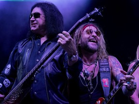 Gene Simmons, left, performs with Ace Frehley at The Children Matter: Houston Benefit Concert at CHS Field on Wednesday, Sept. 20, 2017 in St. Paul, Minn.
