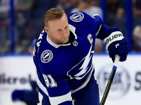 Tampa forward Steven Stamkos brings a four-game point streak into Thursday night's game against Toronto. (GETTY IMAGES)