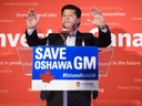 Unifor National President Jerry Dias speaks during press conference asking for all Canadians and Americans to boycott all General Motors vehicles that are made in Mexico due to the recent news about the Oshawa General Motors plant closure in Toronto on Friday, January 25, 2019. THE CANADIAN PRESS/Nathan Denette ORG XMIT: NSD104