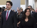 Prime Minister Justin Trudeau and former attorney general Jody Wilson-Raybould take part in the grand entrance as the final report of the Truth and Reconciliation commission is released on Dec. 15, 2015. (The Canadian Press)