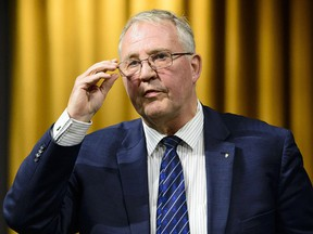 Minister of Border Security and Organized Crime Reduction Bill Blair stands during question period in the House of Commons in West Block on Parliament Hill in Ottawa on Tuesday, Feb. 5, 2019.