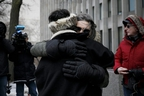 Shelly Kinsman is embraced by supporter Susan Gapka as she leaves The Toronto Courthouse in Toronto, Ontario on Friday, February 8, 2019 after the sentencing of Toronto serial killer Bruce McArthur. Shelly's brother Andrew Kinsman was one of McArthur's victims. - Canadian landscaper Bruce McArthur was jailed for life Friday for the murder and sexual mutilation of eight men from Toronto's gay community whose bodies he dismembered and hid in planters. McArthur, who admitted the killings last month, will be in his 90s before he is eligible for parole from eight concurrent 25-year sentences but Ontario Superior Court Justice John McMahon said he would likely never be released. (Photo by Cole BURSTON / AFP)        (Photo credit should read COLE BURSTON/AFP/Getty Images)