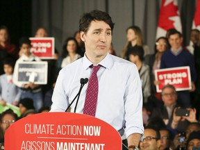 Prime Minister Justin Trudeau holds a rally on climate change at the Danforth Music Hall on  March 4, 2019. (Veronica Henri, Toronto Sun)