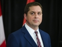 Andrew Scheer, leader of the Conservative Party of Canada, the Official Opposition, responds to Justin Trudeau's statement today during a press conference at the Sheraton Gateway Hotel at Pearson Airport in Toronto on Thursday, March 7, 2019.