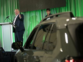 Premier Doug Ford speaks during the official launch of the new Toyota Rav 4 production line at the company's plant in Cambridge, Ont., on Friday, March 29, 2019.(THE CANADIAN PRESS/ Geoff Robins)