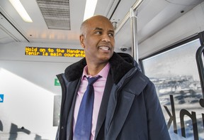 Ahmed Hussen, MP for York South-Weston and Minister of Immigration, Refugees and Citizenship, on the Terminal Link train at Toronto Pearson International Airport on Thursday, March 7, 2019. (Ernest Doroszuk/Toronto Sun/Postmedia)