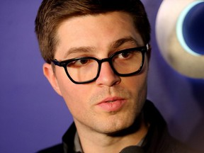 Maple Leafs GM Kyle Dubas speaks to media after the NHL trade deadline in Toronto on Feb. 25, 2019.