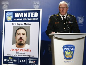 Peel Regional Police interim Chief Chris McCord speaks about the murder of Niagara chapter Hells Angels member Michael Deabaitua-Schulde, 32, who was shot to death March 11 outside a Mississauga gym, on March 14, 2019. Joseph Pallotta is wanted on a Canada-wide warrant for first-degree murder. (Jack Boland/Toronto Sun)