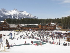 The base of the Lake Louise Ski Resort is shown during April 2018's end-of-season Shake the Lake party in a handout photo. THE CANADIAN PRESS/HO-Lake Louise Resort MANDATORY CREDIT