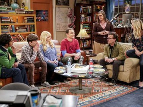 """This image released by CBS shows Kunal Nayyar, from left, Simon Helberg, Melissa Rauch, Jim Parsons, Mayim Bialik, Johnny Galecki and Kaley Cuoco appear in a scene from the long-running comedy series """"The Big Bang Theory."""""""
