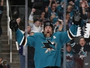 Sharks' Joe Thornton celebrates his goal against the Golden Knights during the first period of Game 2 of an NHL first-round playoff series Friday, April 12, 2019, in San Jose, Calif.