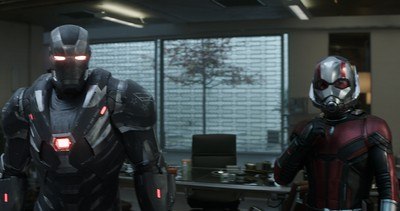 Marvel Studios' AVENGERS: ENDGAME..L to R: War Machine (Don Cheadle) and Ant-Man (Paul Rudd)..Photo: Film Frame..©Marvel Studios 2019
