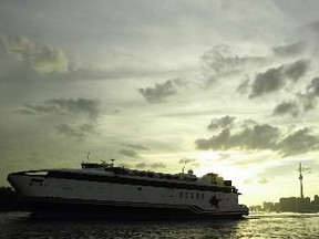 The Spirit of Ontario ferry leaves Toronto for it's last trip to Rodchester New York, Tuesday evening. The Canadian American Transportation Systems, the company that runs the ferry sights high dept aquired due to a late start-up date as it's reason for suspending the service. (Postmedia files)