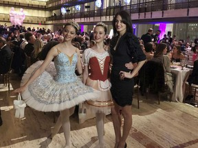 """Choreographer Melanie Hamrick poses with dancers at the gala of Youth America Grand Prix, the world's largest ballet scholarship competition, on Thursday, April 18, after the U.S. premiere of her new ballet, """"Porte Rouge"""" (Red Door), based on classic Rolling Stones tunes arranged by her partner, Mick Jagger."""