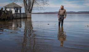 Councillor Eli El-Chantiry in the community of Constance Bay near the Ottawa River as residents anticipate rising water from the Ottawa River could possibly cause major flooding. (Wayne Cuddington/ Postmedia)