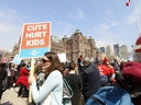 Thousands of teachers, students and union leaders gathered on the front lawn at Queen's Park to protest the Ford government's education cuts on Saturday, April 6, 2019.