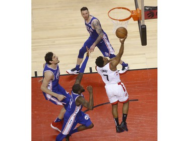 Toronto Raptors Kyle Lowry PG (7) goes to the bucket during the first half in Toronto, Ont. on Sunday April 28, 2019. Jack Boland/Toronto Sun/Postmedia Network