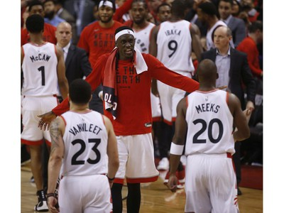 Toronto Raptors Pascal Siakam PF (43) is pumped after the  115-96 to advance to the next round  in Toronto, Ont. on Tuesday April 23, 2019. Jack Boland/Toronto Sun/Postmedia Network
