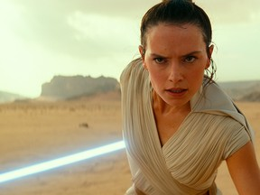 """This image released by Lucasfilm Ltd. shows Daisy Ridley as Rey in a scene from """"Star Wars: Episode IX."""""""