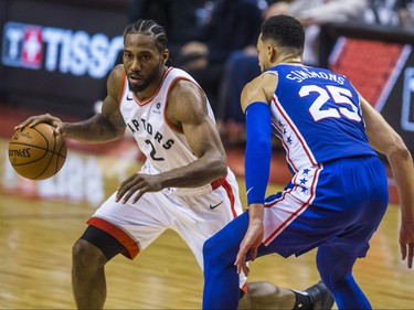 Toronto Raptors Kawhi Leonard and Philadelphia 76ers Ben Simmons during 1st half action at the Eastern Conference Semifinals at the Scotiabank Arena in in Toronto, Ont. on Monday April 29, 2019. Ernest Doroszuk/Toronto Sun/Postmedia