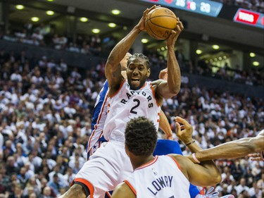 Toronto Raptors Kawhi Leonard against the Philadelphia 76ers during 2nd half action at the Eastern Conference Semifinals at the Scotiabank Arena in in Toronto, Ont. on Monday April 29, 2019. Ernest Doroszuk/Toronto Sun/Postmedia