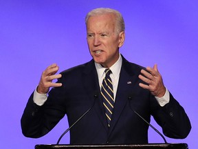 In this April 5, 2019, file photo, former Vice President Joe Biden speaks at the IBEW Construction and Maintenance Conference in Washington.