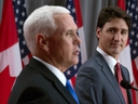 Prime Minister Justin Trudeau listens as U.S. Vice-President Mike Pence makes his opening statement during a joint news conference in Ottawa, Thursday, May 30, 2019. THE CANADIAN PRESS/Adrian Wyld