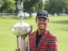 Kevin Na holds the Leonard Trophy after winning the Charles Schwab Challenge golf tournament Sunday, May 26, 2019, in Fort Worth, Texas. (AP Photo/ Richard W. Rodriguez) ORG XMIT: TXRR127