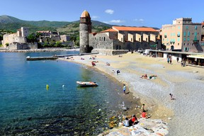 Collioure's sand-and-pebble beach ends at the Notre-Dame des Anges church — a view that's inspired many modern artists. (Cameron Hewitt)