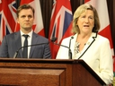 Toronto Board of Health Chair Joe Cressy, left, and former Ontario Liberal health minister Dr. Helena Jaczek criticize cuts to public health funding made by the Doug Ford government on Thursday, May 23 2019. (Antonella Artuso/Toronto Sun)