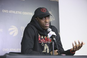 Pascal Siakam answers questions from the media after Raptors practice on Tuesday. (Veronica Henri/Toronto Sun)