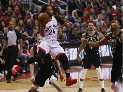 Toronto Raptors Norman Powell SF (24) through the air during third quarter in Toronto, Ont. on Saturday May 25, 2019. Jack Boland/Toronto Sun/Postmedia Network