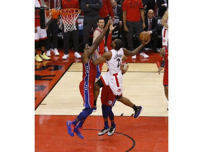 Toronto Raptors Kawhi Leonard SF (2) goes in for a slam during the third quarter in Toronto, Ont. on Sunday, May 12, 2019