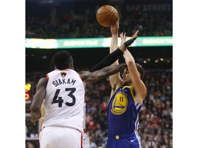 Toronto Raptors Pascal Siakam PF (43) tries to blockGolden State Warriors Klay Thompson SG (11) during the third quarter in Toronto, Ont. on Thursday May 30, 2019. Jack Boland/Toronto Sun/Postmedia Network