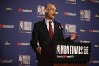 NBA commissioner Adam Silver speaks with reporters during a news conference ahead of tipoff for Game 1 of the NBA Finals last night at Scotiabank Arena in Toronto. One topic he addressed was the antics of rapper Drake. (JACK BOLAND/TORONTO SUN)