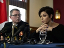 Vice-Admiral Mark Norman sits with his lawyer Marie Henein at a press conference in Ottawa on Wednesday, May 8, 2019. THE CANADIAN PRESS/Sean Kilpatrick