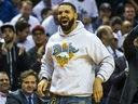 Drake wears a Breaker High hoodie as he cheers on the Toronto Raptors during playoff action against the Philadelphia 76ers at the Scotiabank Arena  in Toronto on Tuesday May 7, 2019. Ernest Doroszuk/Toronto Sun