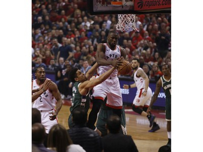 Toronto Raptors Serge Ibaka C (9) is fouled during the first half in Toronto, Ont. on Tuesday May 21, 2019. Jack Boland/Toronto Sun/Postmedia Network