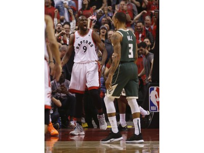 Toronto Raptors Serge Ibaka C (9) pumped after scoring during the first half in Toronto, Ont. on Tuesday May 21, 2019. Jack Boland/Toronto Sun/Postmedia Network