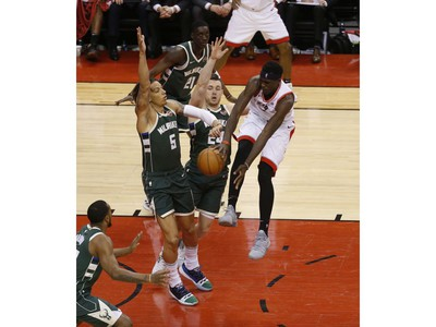 Toronto Raptors Pascal Siakam PF (43) loses the ball against Milwaukee Bucks D.J. Wilson PF (5) during the second half in Toronto, Ont. on Tuesday May 21, 2019. Jack Boland/Toronto Sun/Postmedia Network